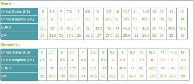 nike free 4.0 size chart