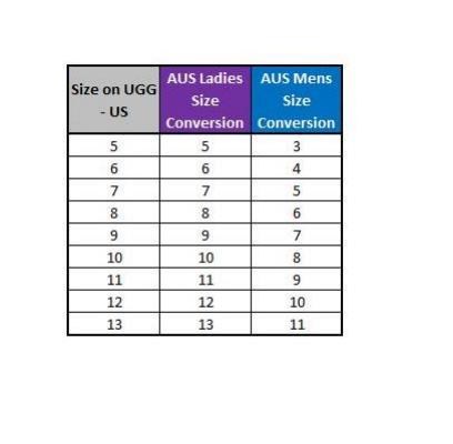 ugg usa size chart
